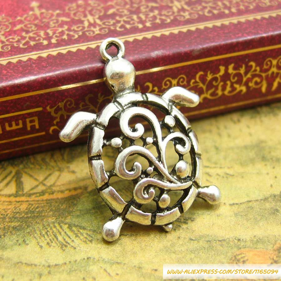 AC39-1/// 20 pcs Antique Silver Sea Turtle Charms 28x21mm metal accessories diy pandora bracelet necklace Jewelry materials