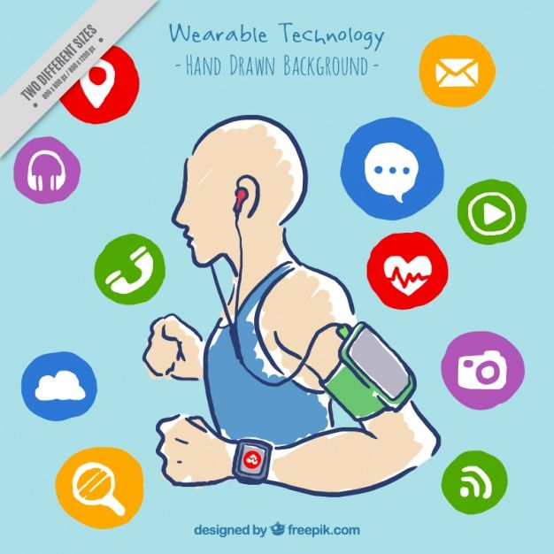 Hand drawn sportive wearable technology background Free Vector