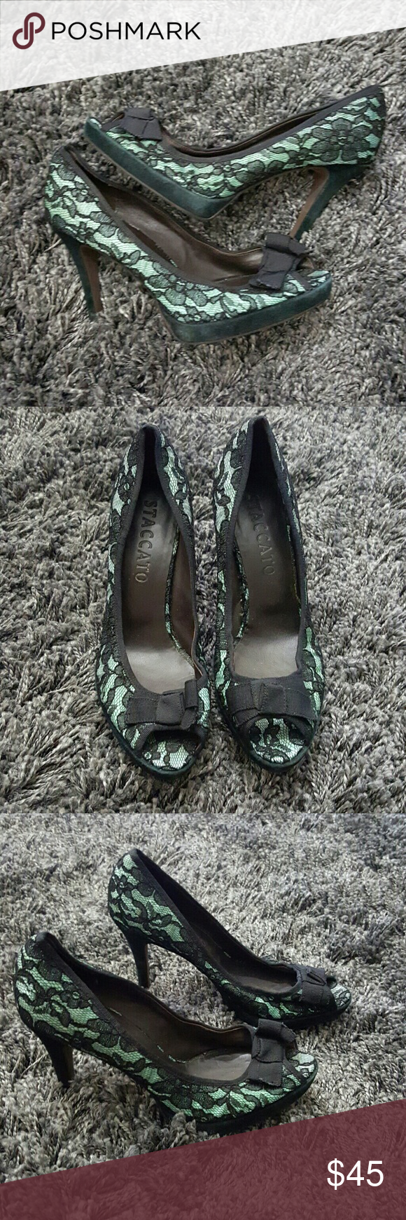 NWOT Staccato Mint Green Lace Bow Pumps 10 NWOT This is a pair of size 9.5 mint green lace heels with a bow. Heel height is four inches. Closer to a 9.5 inside. Perfect for Easter.   No trades. Shoes Heels