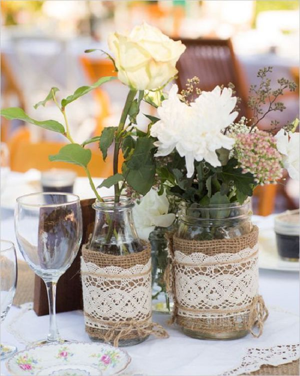 Rustic lace and burlap wedding table decor ideas deer