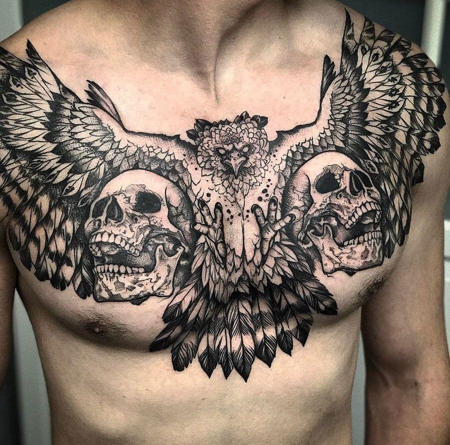 Harpy Eagle Skulls Tattoo Art Tatouage Tatouage Torse