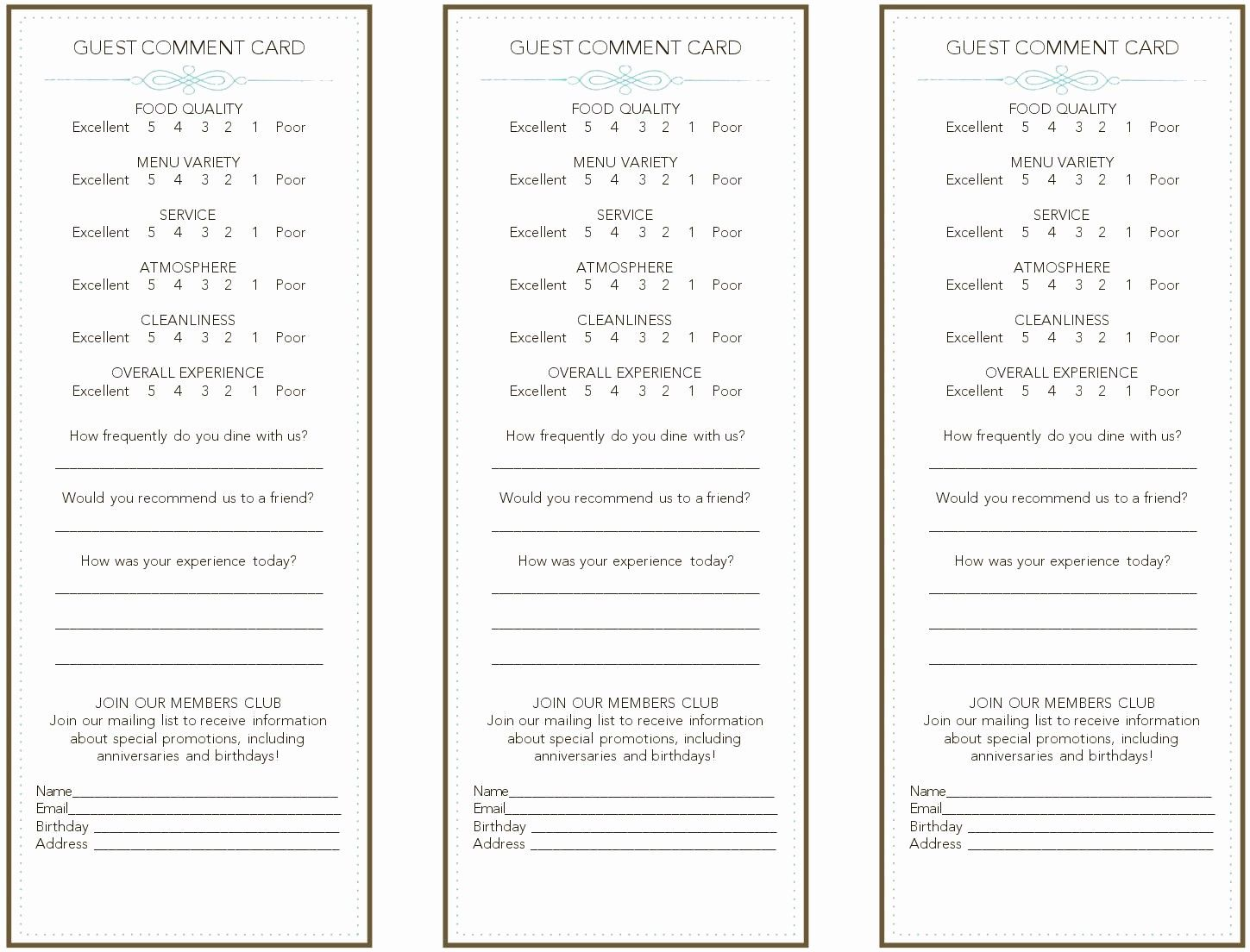 Restaurant Comment Card Template Free Fresh French