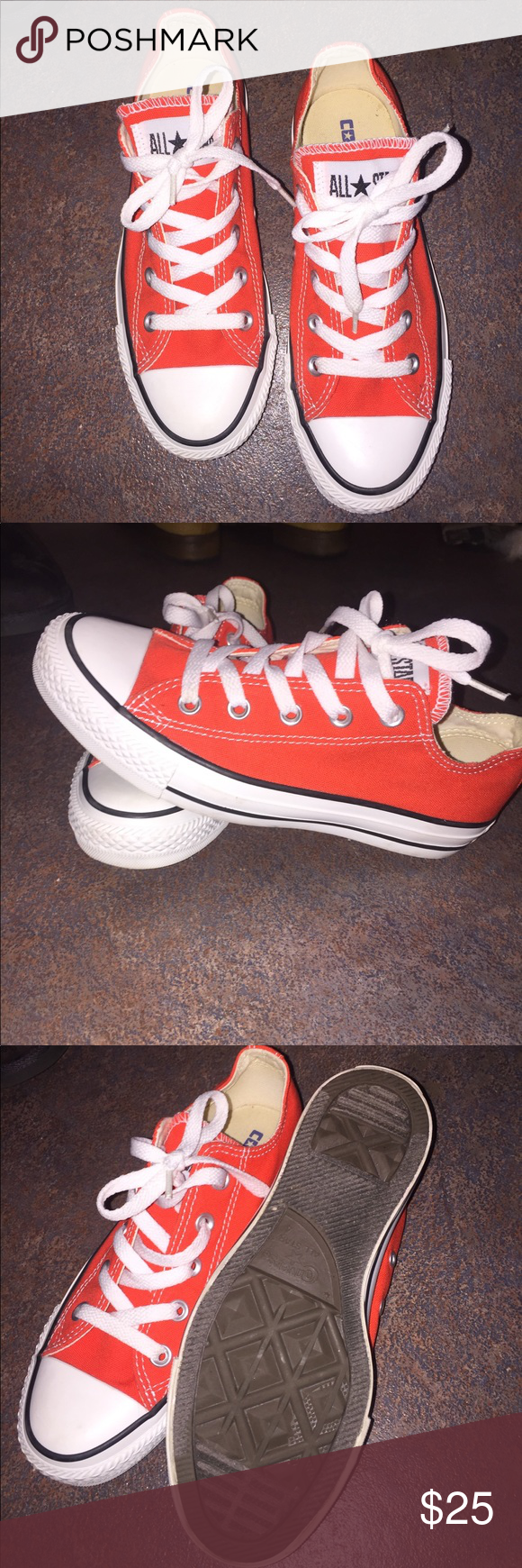 41144379ff8a56 Orange Converse Orange converse. Never worn out of the house. Women s size  6 men s size 4. Perfect condition. Converse Shoes Sneakers