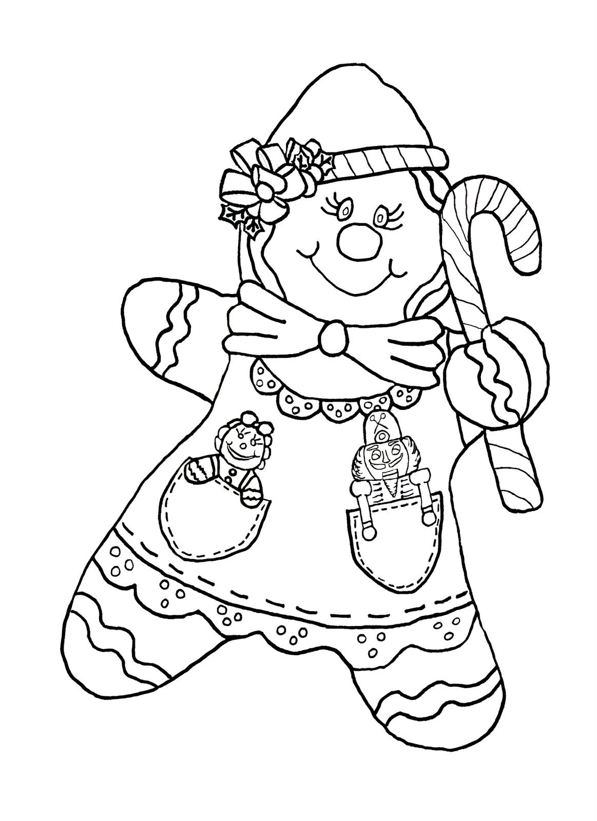 gingerbread candy cane girl color page Coloring pages