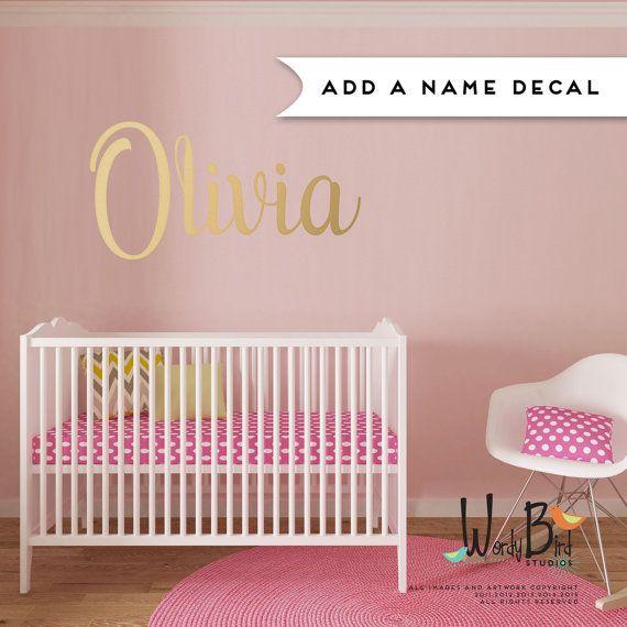 Custom Name Wall Decal For Children Baby Nursery Boy Add A Gold