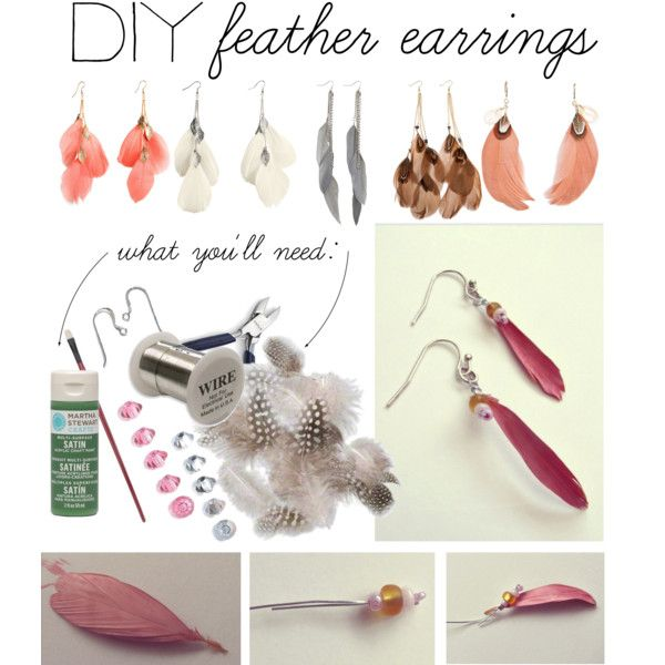 """""""DIY: Feather Earrings"""" by polyvore-editorial on Polyvore  Lord knows I have a ton of feathers that I need to use!"""