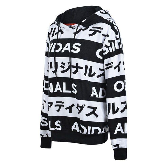 38311023a2c Adidas Originals Typo Monogram Japanese Katakana AA2489 Black White Women  Hoodie