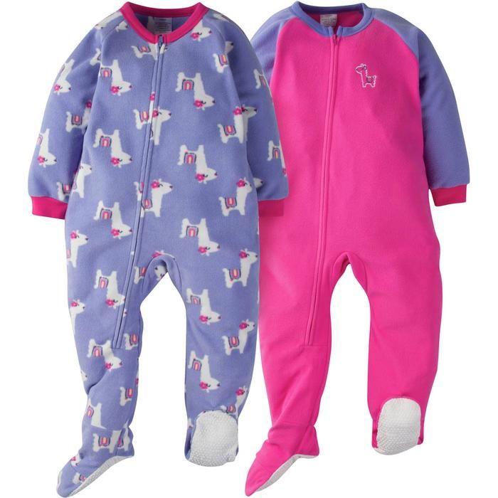 e46c1f26e51b 2-Pack Toddler Girl Purple Llama Blanket Sleepers