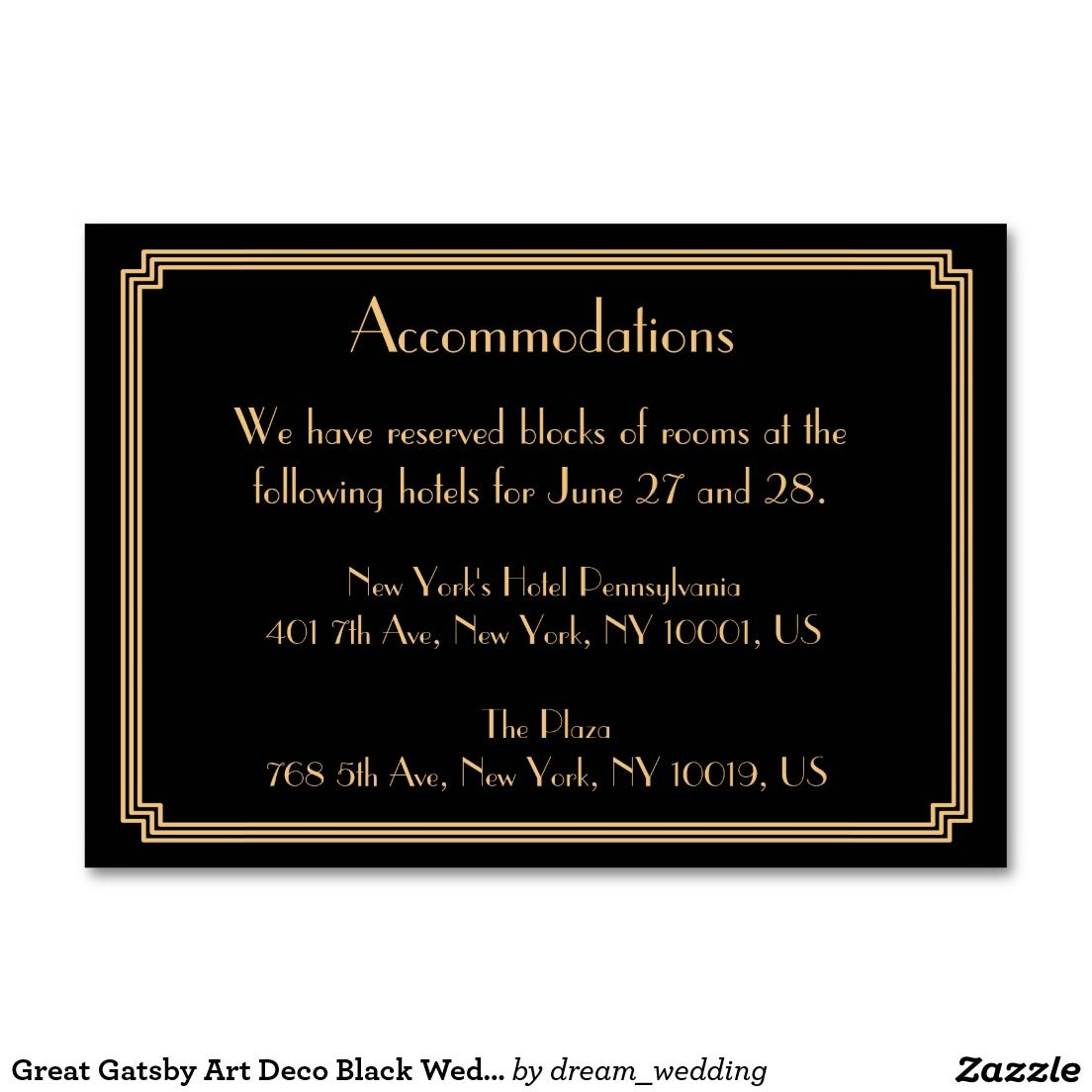 Great Gatsby Art Deco Black Wedding Accommodation Card
