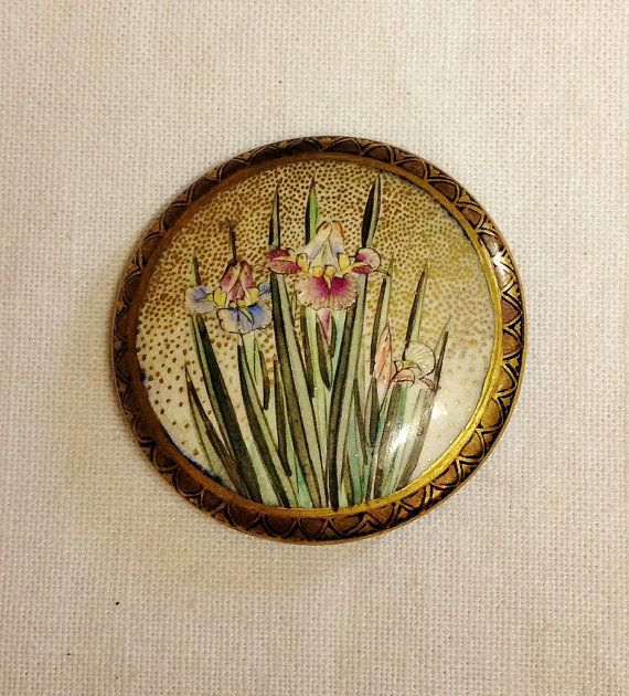 This Antique SATSUMA IRIS BUTTON by mytesoros has it all!  Great detail, a gilded border and a zillion dots! www.etsy.com/listing/190273844