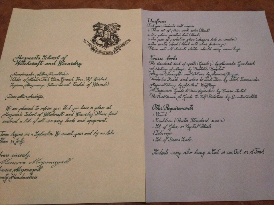 Hogwarts acceptance letter PenmanshipPorn Perfect