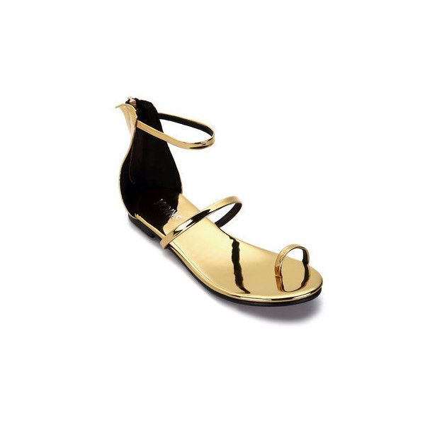 Yoins Gold Metallic Strap Across Zip Back Closure Ankle Strap Flat... ($31) ❤ liked on Polyvore featuring shoes, sandals, flat shoes, ankle strap sandals, ankle strap flat sandals, strappy flat sandals and ankle tie flat sandals