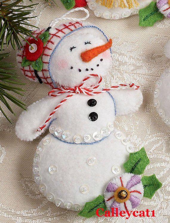 Bucilla Let It Snowman 6 piece Felt Christmas Ornament