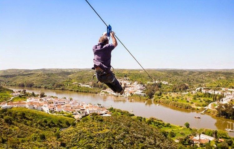 Zipline From Sanlucar De Guadiana In Andalucia Spain To Alcoutim In Algarve Portugal Ziplining Spain And Portugal Travel