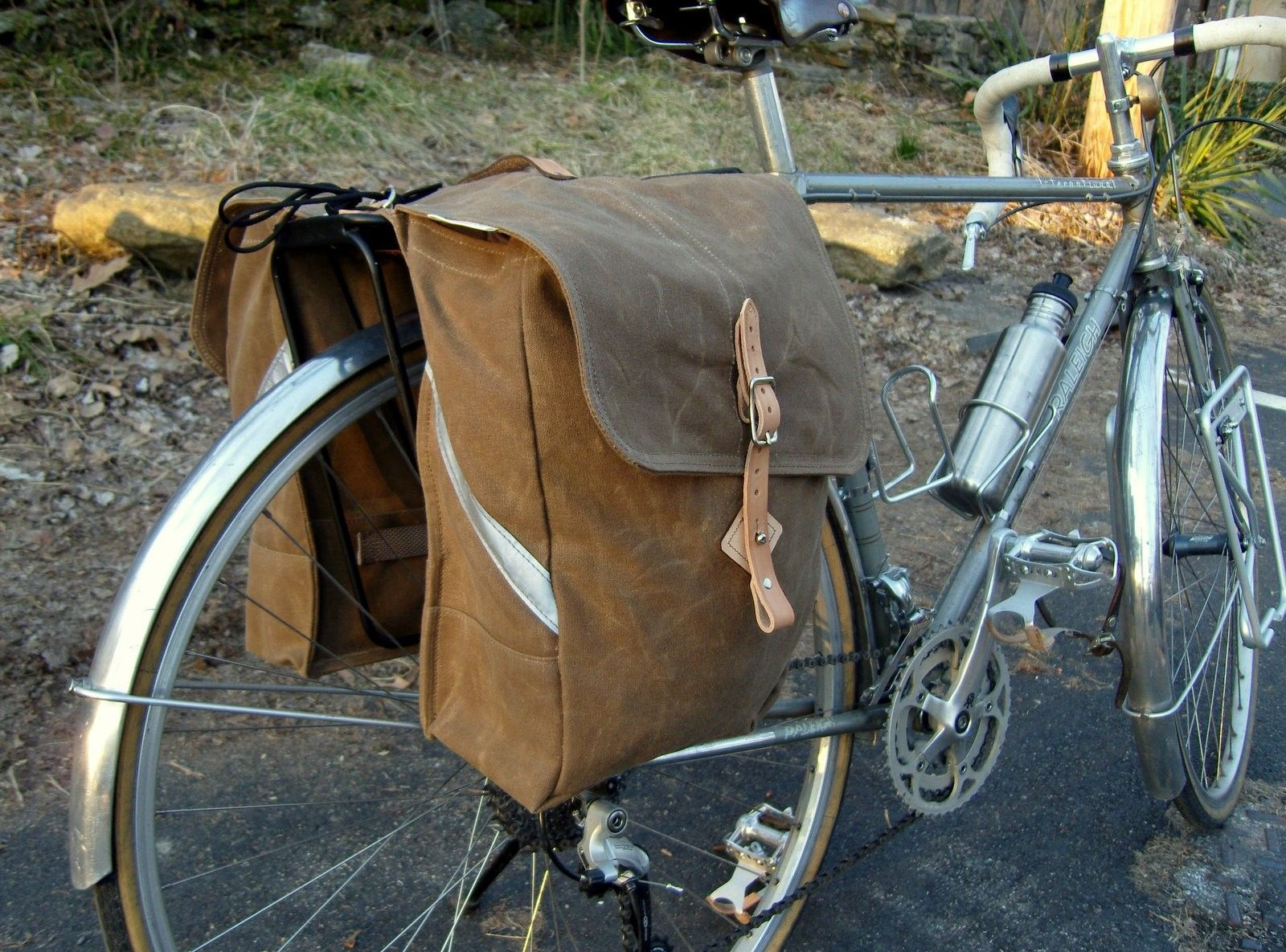 City Waxed Canvas Roll Up Bicycle Saddle Bags Panniers Brown Nice Bike Too