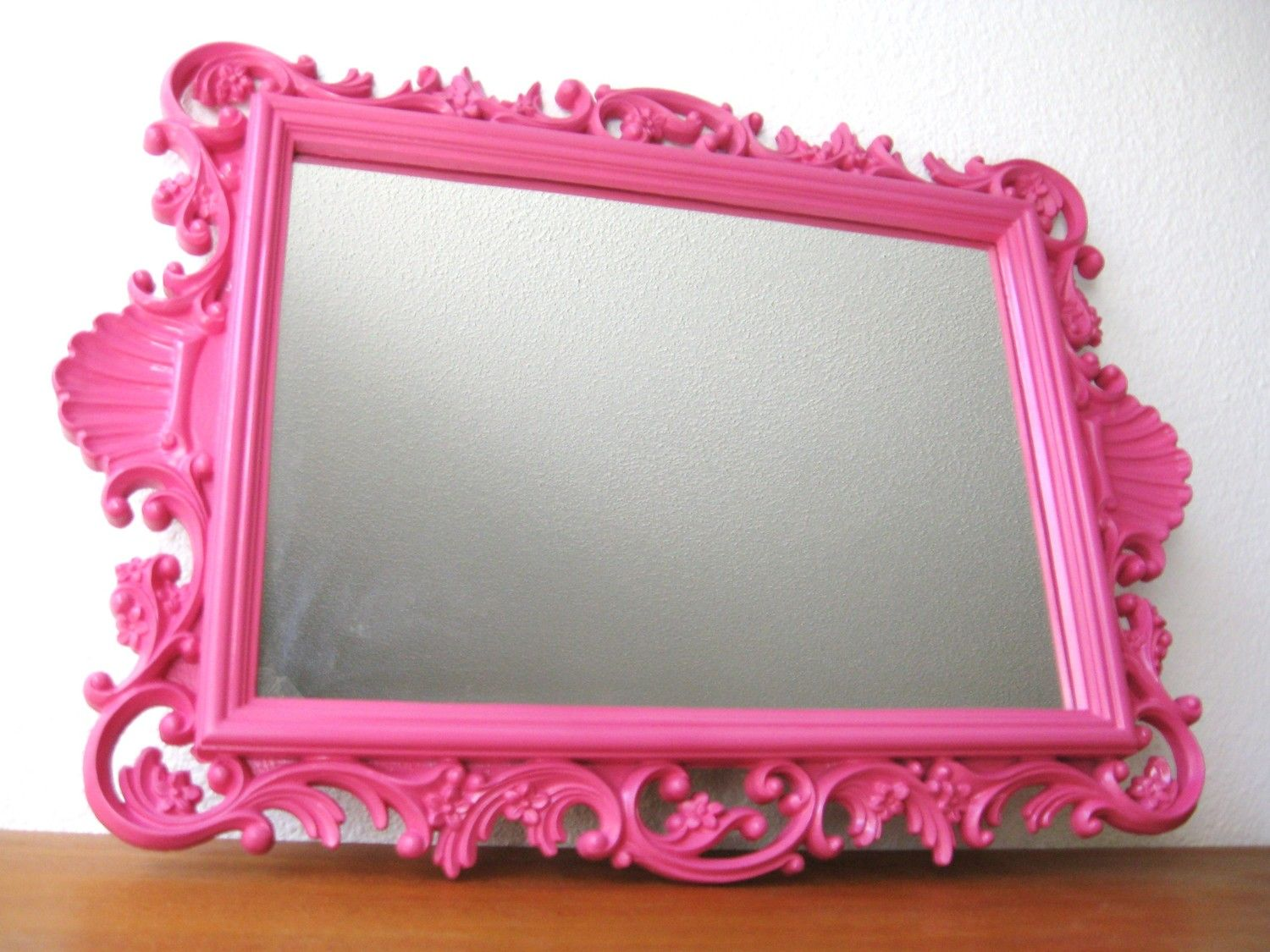 Pink Wall Mirror vintage hot pink hollywood regency wall mirror | hollywood regency