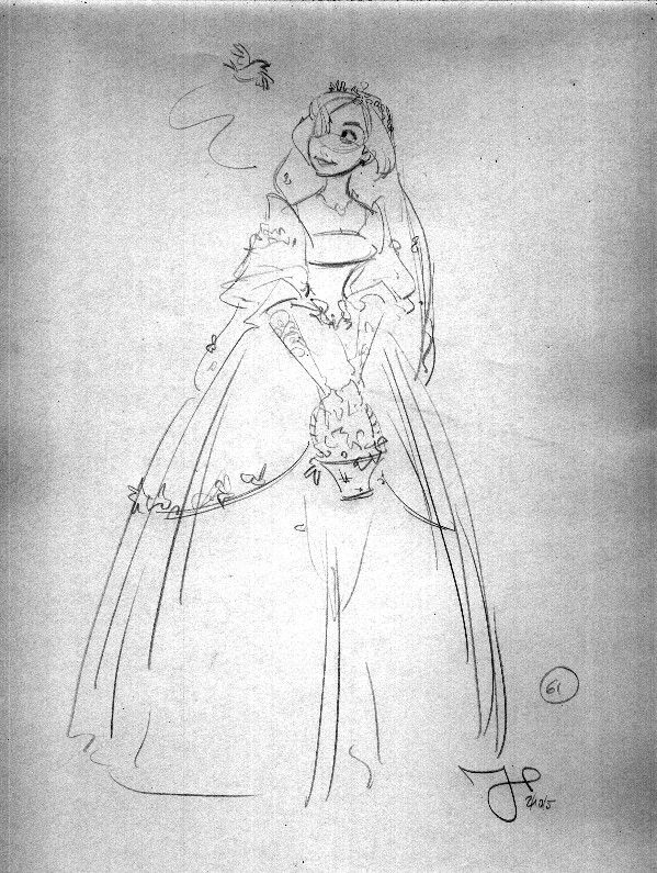 """Initial Giselle wedding concept for """"Enchanted"""""""