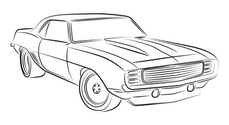 muscle car drawing - Drawing For Boys