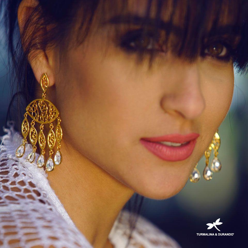 Aretes Aureo De Cristal X 5 Luxury Gold Handmade Earings Crytal New