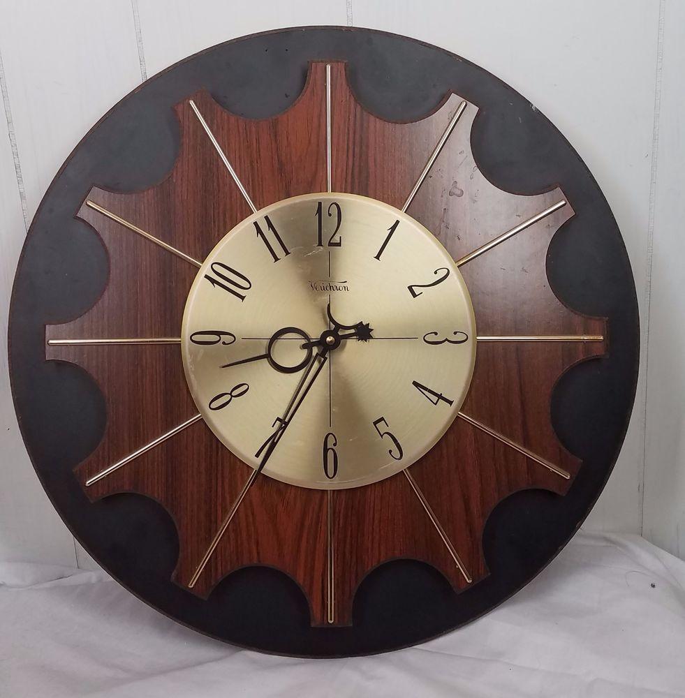 Vtg Verichron Clock Mid Century Eames Era Retro Mcm Wood Sunburst