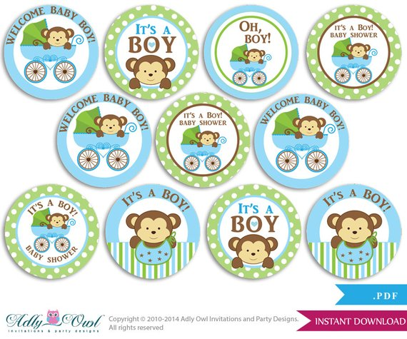 Purple Monkey Printable Cupcake Toppers Party Favor Tags