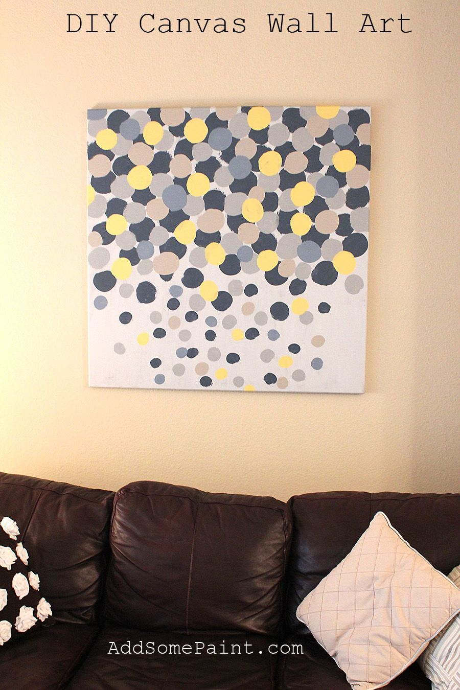 DIY canvas wall art instead of yellow I used a light bluetealish