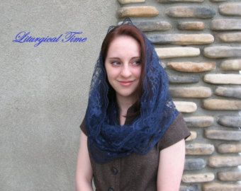 Chapel veil in the style of the infinity scarf from the Liturgical Times Etsy Shop!