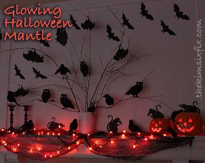 Glowing Halloween Silhouette Mantle