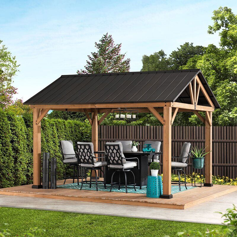 12 Ft W X 10 Ft D Solid Wood Patio Gazebo In 2020 Patio Gazebo Wood Patio Gazebo