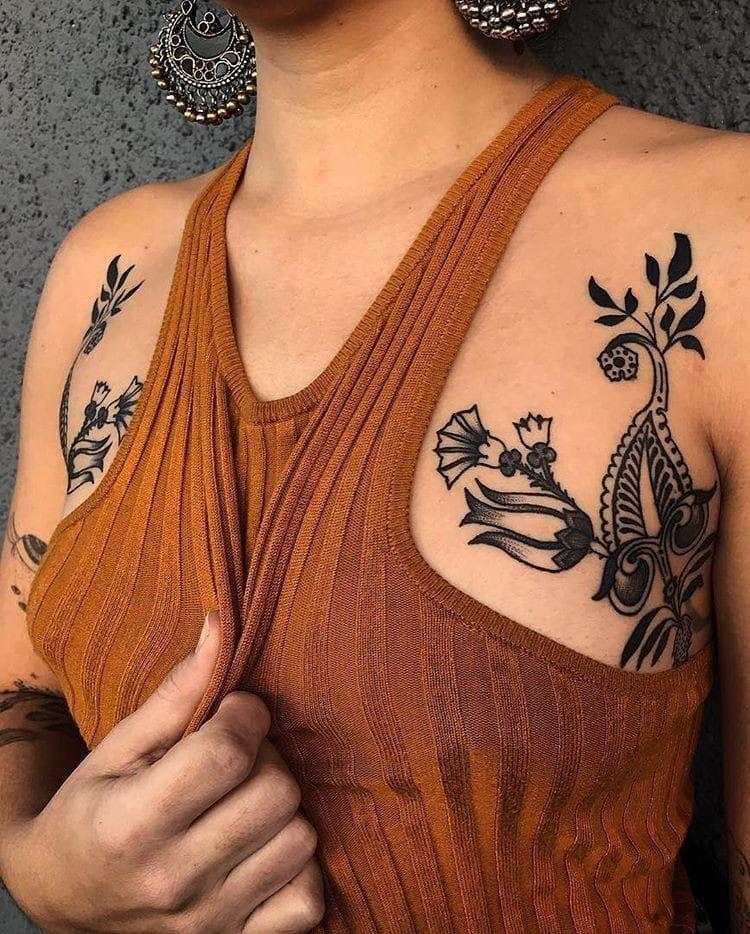 Lil armpitchest tattoo tattoos floral tattoo cool tattoos