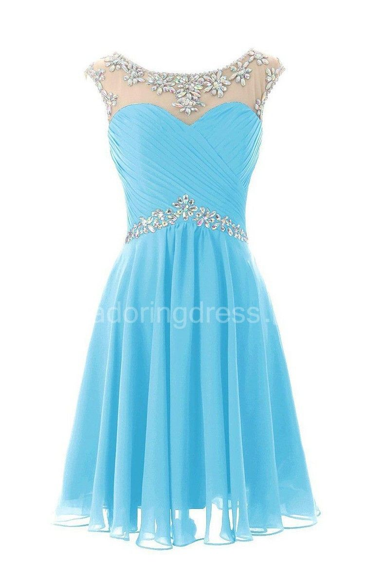Capsleeved aline short dress with pleats en th grade semi
