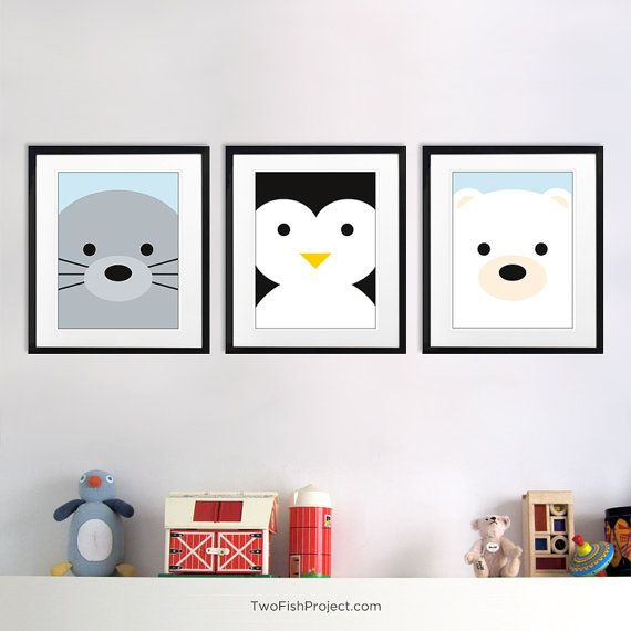 Nursery Decor Arctic Polar Bear Wall Art By Twofishproject