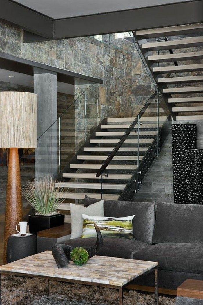 treppe mit glasgeländer graue gestaltung Gestaltung von Treppen - unter der treppe wohnideen