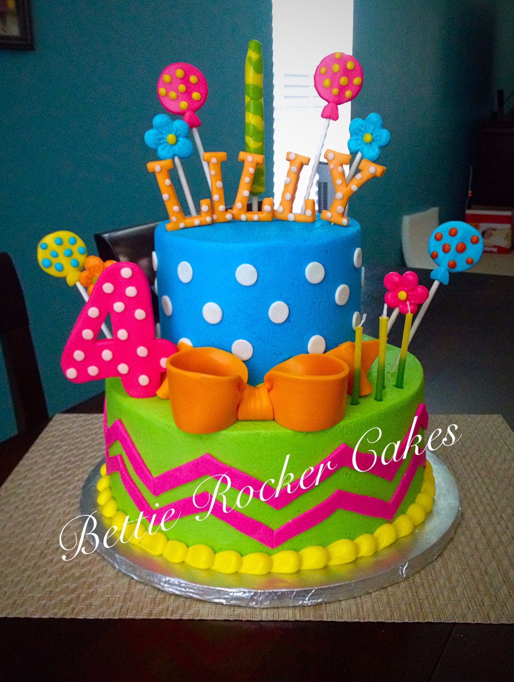 Girly Colorful Bright Birthday Cake Girls teen polka dot chevron