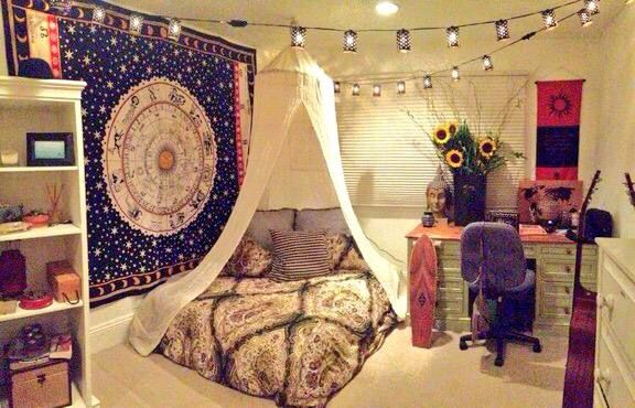 New Age Boho Bedroom Canopy Low Bed Tumblr Bedrooms