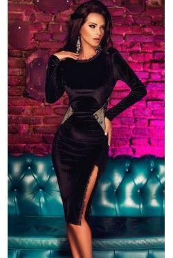 Black Long Sleeve Velvet Midi Dress