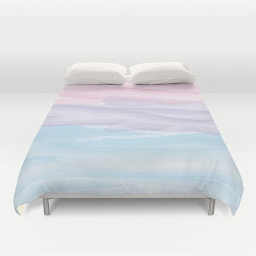 Duvet Cover Made To Order Pastel Watercolor Purple Pink
