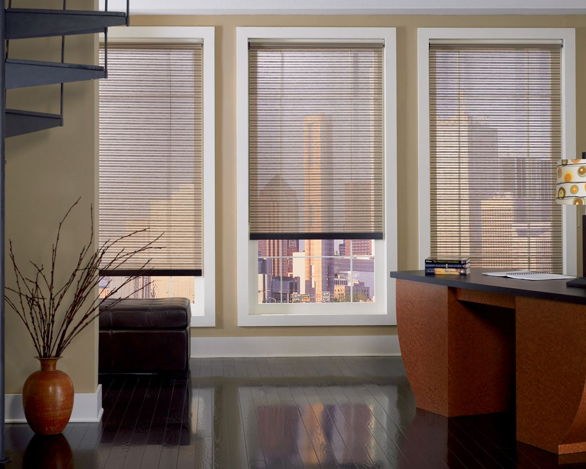 Attrayant This Custom Patterned Fabric Looks Great With The Roller Shades Installed  In The High Tower Office. The Wood Desk Compliments Them Perfectly!