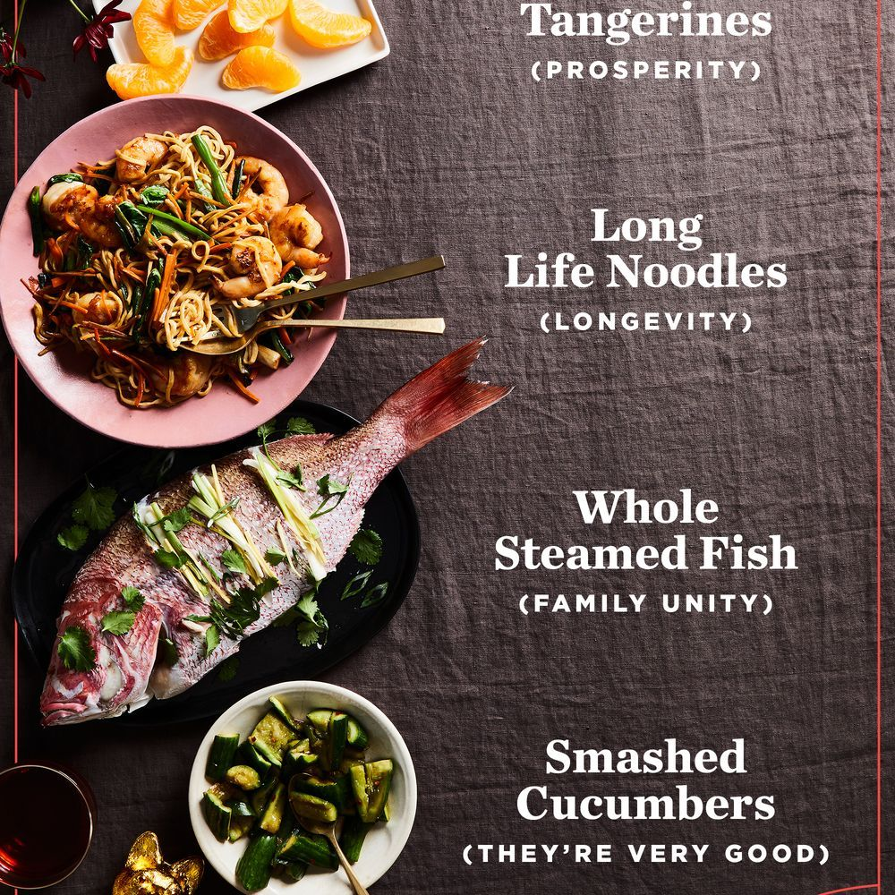 Extra Long Noodles Star In This Lucky Scrumptious Lunar New Year Feast Chinese New Year Food Lucky Food Chinese New Year Dishes