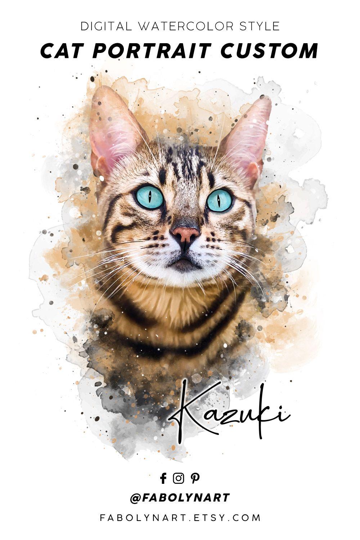 Digital cat portrait custom watercolor cat portrait