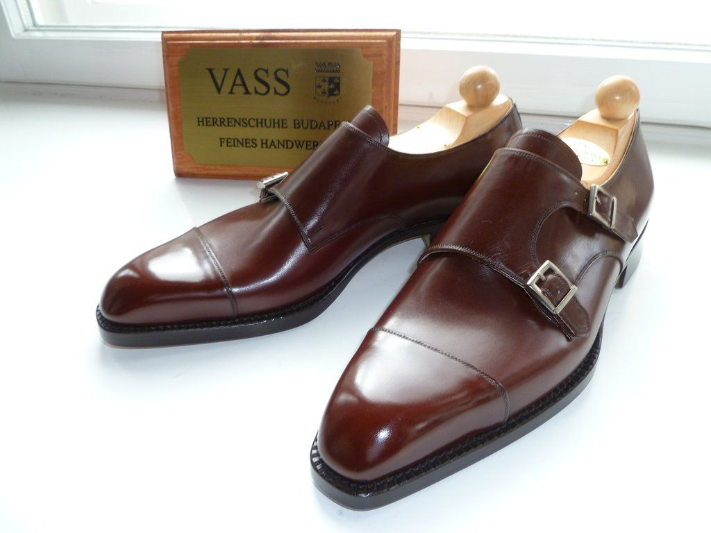 Vass Shoes Double Monks Antique Cognac Calf K Last Dress Shoes Men Ascot Shoes Monk Strap Shoes