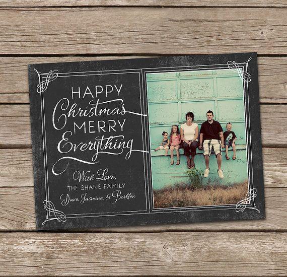 Happy Christmas Merry Everything Vintage Custom Photo Holiday Card. $15.00, via Etsy.