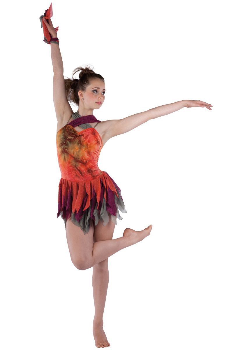 39ee1722c 15519 Fire Bird | Lyrical Contemporary Dance Costumes | Dansco 2015 |  Orange/olive tie-dye printed spandex and olive spandex leotard with  burgundy and olive ...