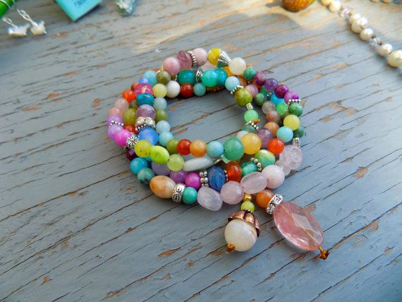 Colourful all gemstone wrap bracelet or necklace  by Sydneyjos