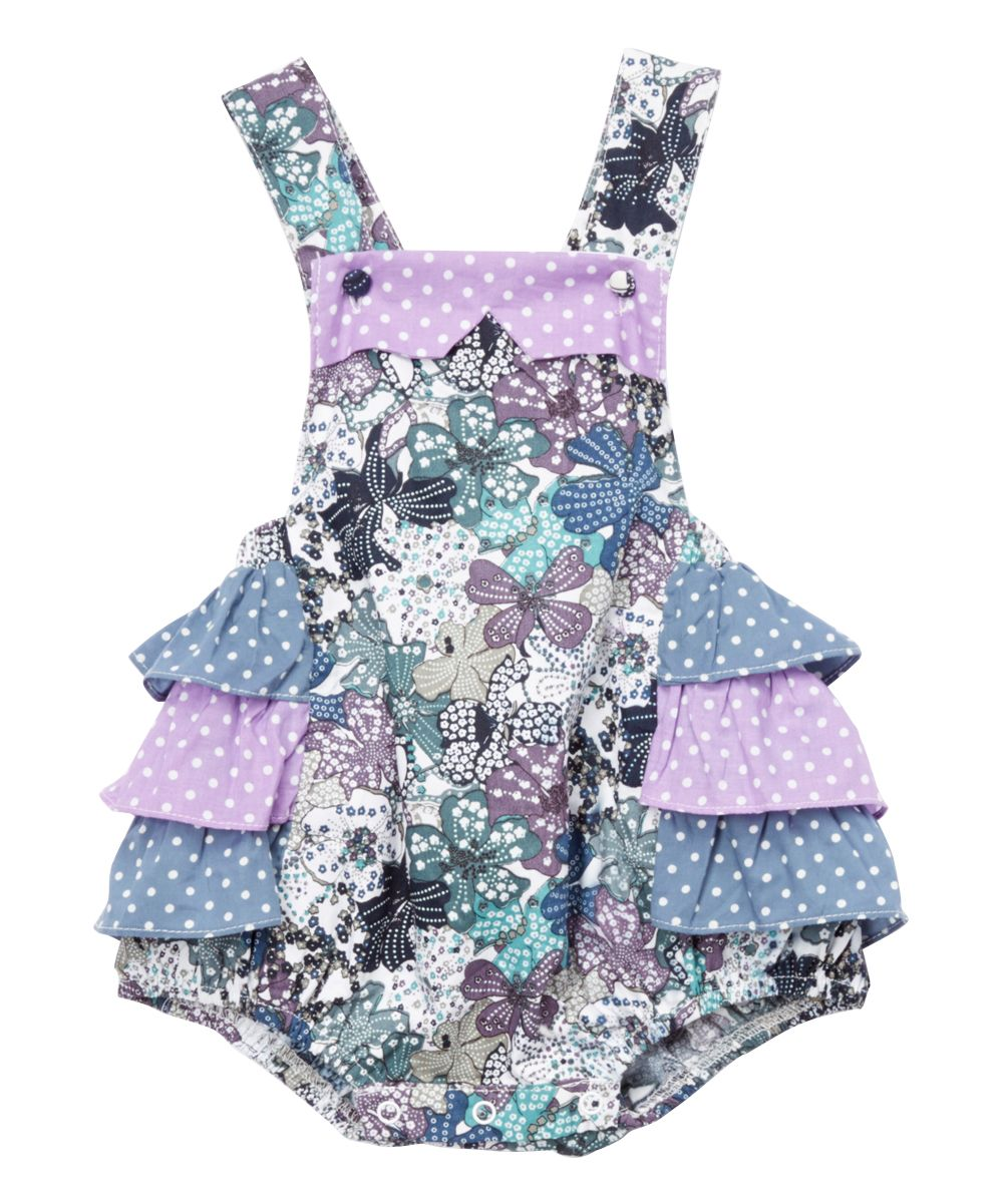 dfb2a59bf30 Green   Lavender Floral Ruffle Bubble Romper - Infant   Toddler. Find this  Pin and more ...