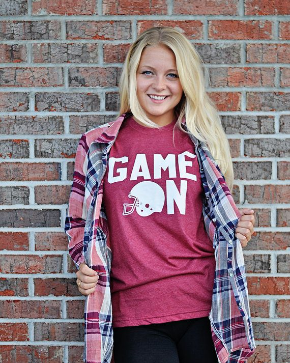 bc8a7a741850 Need custom t-shirts or screen printing  GAME ON! Football Tee - Ladies football  Tee