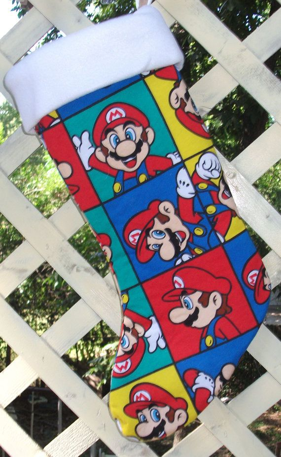 Super Mario Christmas Stocking.Super Mario Bros Christmas Stocking Handmade Ooak By