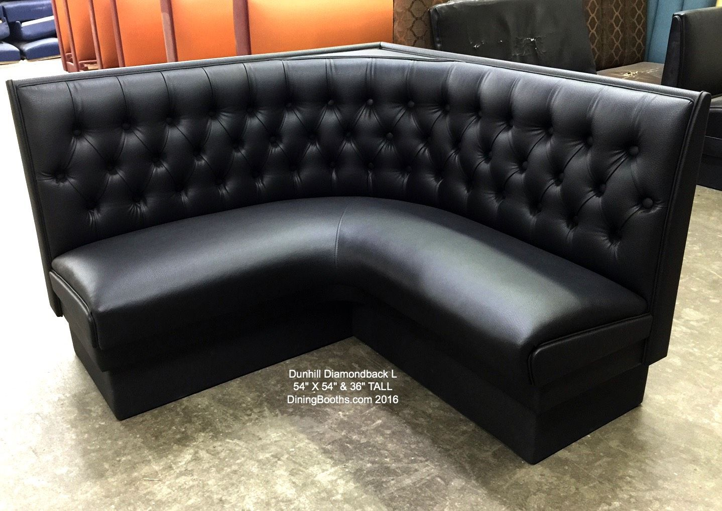 Black Diamond Back L Shaped Dining Booth Dining Booth Leather Chair With Ottoman Booth Seating