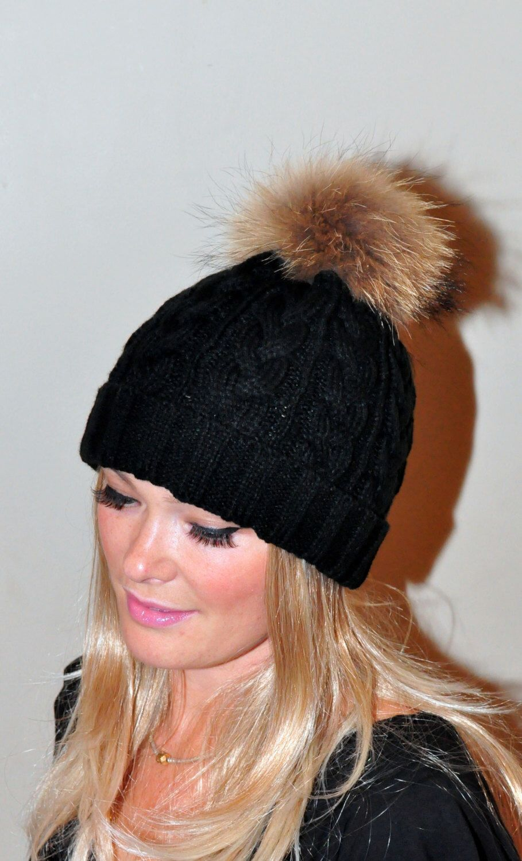 b9c4d8d1a6b Black Beanie Hat Fur Pom Pom Hat SALE Ski Women Hat Cabled Hat Raccoon Fur  Pom Pom Christmas Gift under 100