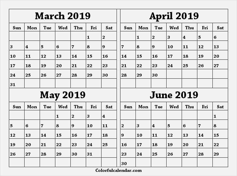 Mar Apr May Jun 2019 Calendar Word June 2019 Calendar Calendar